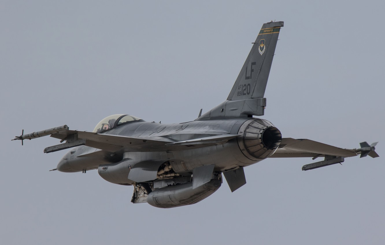 Обои Самолёт, fighting falcon, вираж, истребитель, Пейзаж. Авиация foto 13