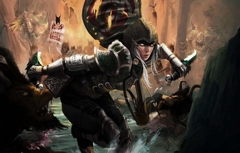 Фото обои лес, вода, девушка, ручей, арт, битва, ножи, Diablo III, враги, Demon Hunter