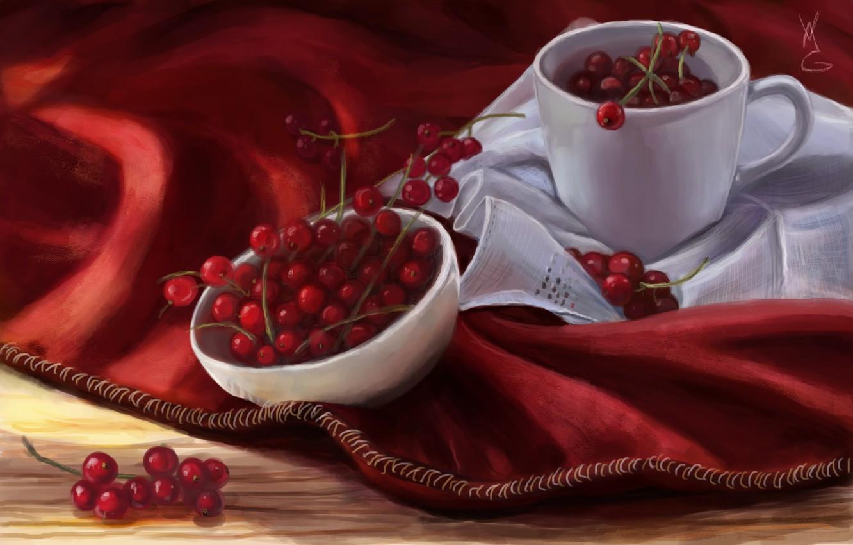 Фото обои ягоды, арт, кружка, красная, смородина, салфетка, пиала