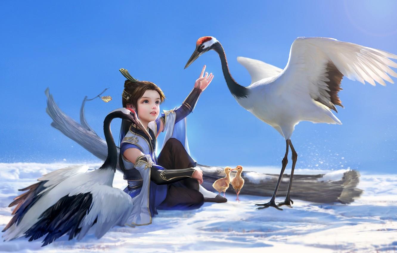 Фото обои снег, птицы, дерево, арт, девочка, птенцы, hao6578300