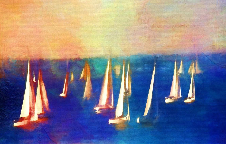 Фото обои море, картина, лодки