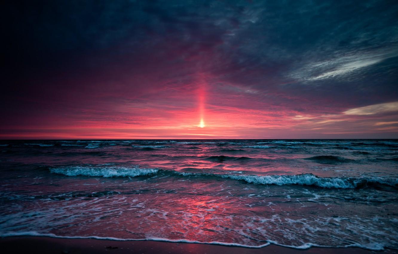 Фото обои море, небо, закат, Sunset