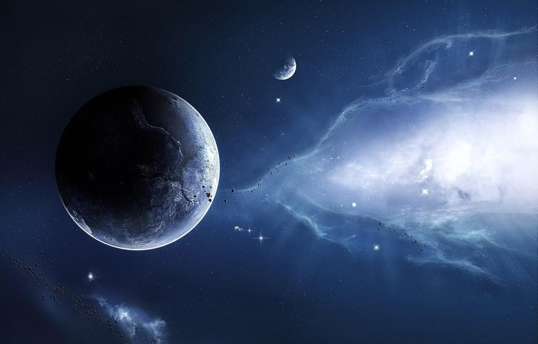Фото обои небо, космос, звезды, фантастика, планеты, метеориты