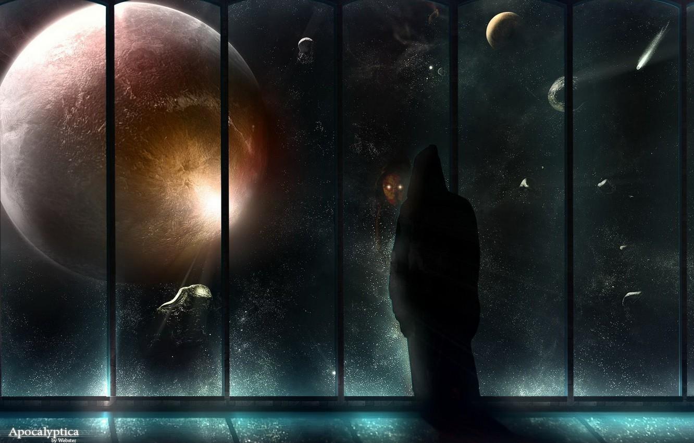 Фото обои Планета, окно, зло