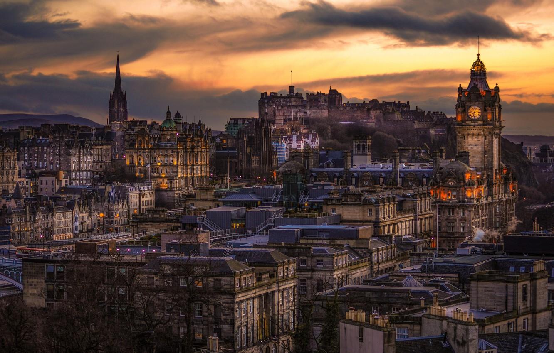 Обои Облака, эдинбург, Шотландия, свет, дома. Города foto 11