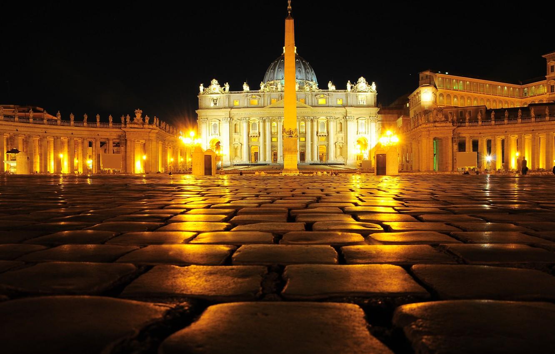 Обои ночь, святого петра, площадь. Города foto 11
