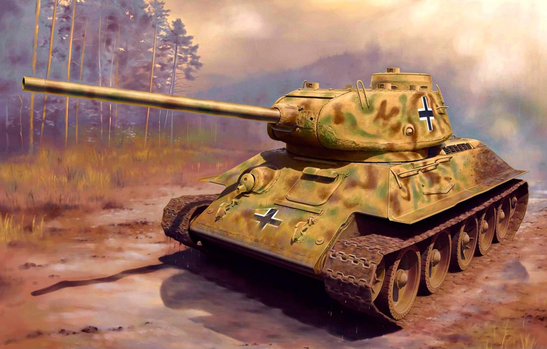 Фото обои war, art, painting, tank, ww2, captured tank, Panzerkampfwagen T-34/85