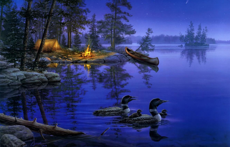 Фото обои лес, ночь, природа, озеро, огонь, лодка, звезда, утки, звёзды, костер, палатка, живопись, костёр, night, lake, …