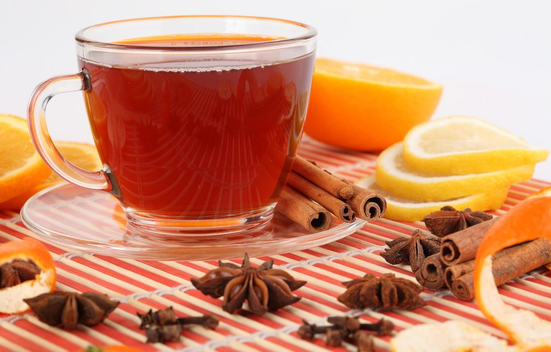 Фото обои отражение, лимон, чай, апельсин, чашка, напиток, корица, блюдце, дольки, кожура, бадьян
