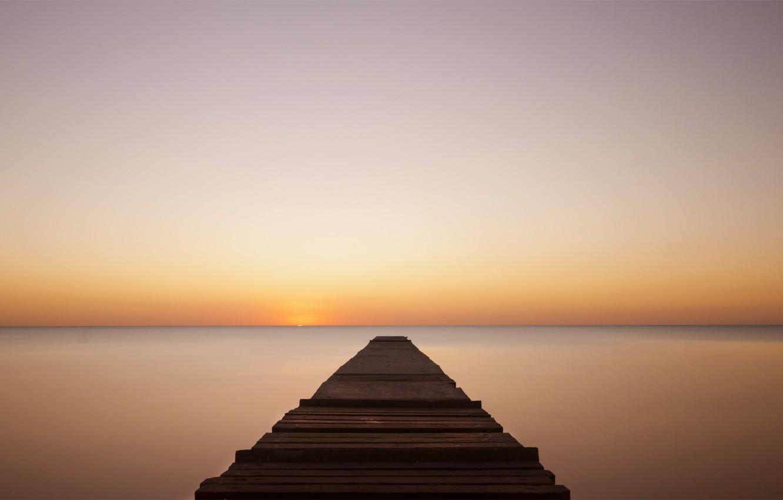 Фото обои море, закат, оранжевый, спокойствие, вечер, штиль, мостик