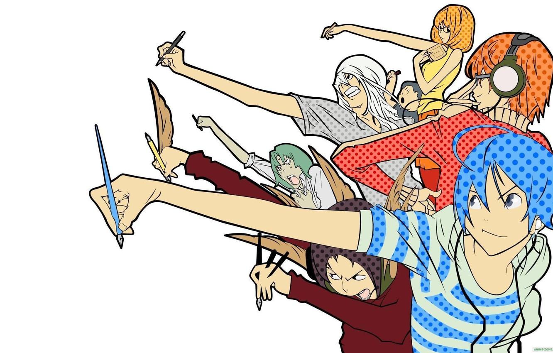 Фото обои Bakuman, Akito Tacagi, Niidzuma Agee, Takuro Nakai, Yuriko Aoki, Mashiro Moritaka, Fukuda Shinta