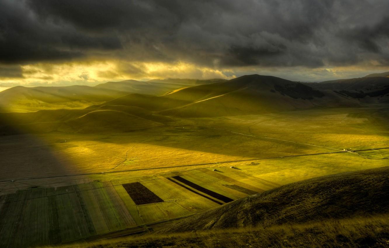 Фото обои равнина, утро, солнечные лучи