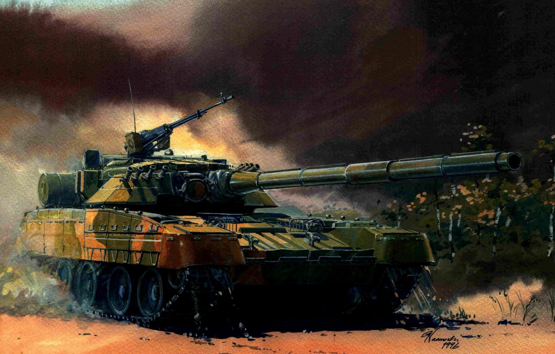 Фото обои зеленый, арт, танк, пулемет, пушка