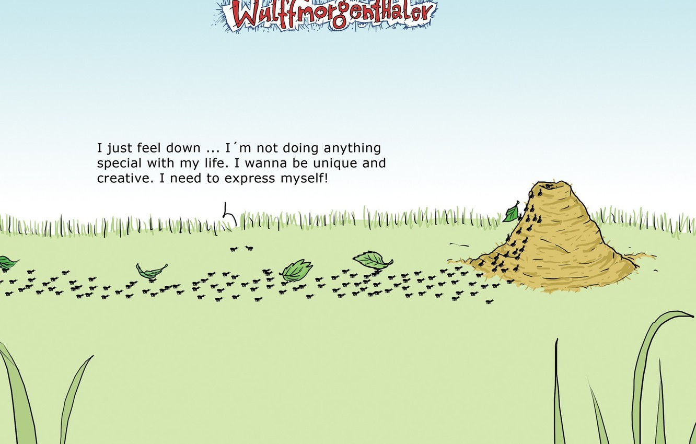 Фото обои юмор, муравьи, Wulffmorgenthaler, карикатура