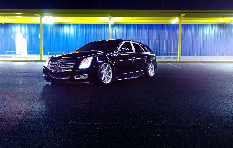 Фото обои Cadillac, CTS, Car, Front, Black, Tuning, Vossen, Wheels, CV7