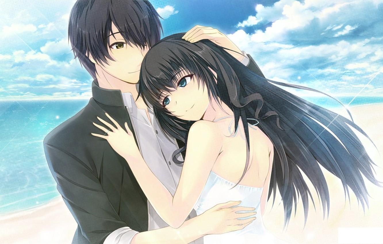 Картинки девушек аниме и парней с черными волосами