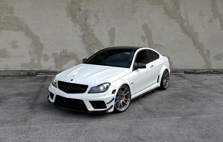 Фото обои Mercedes, AMG, Black, Series, C63, HRE Wheels
