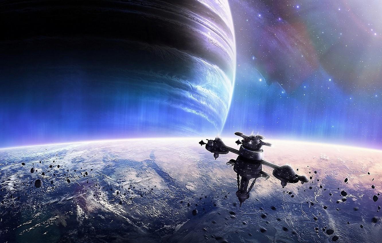 Фото обои звезды, планеты, космическая станция