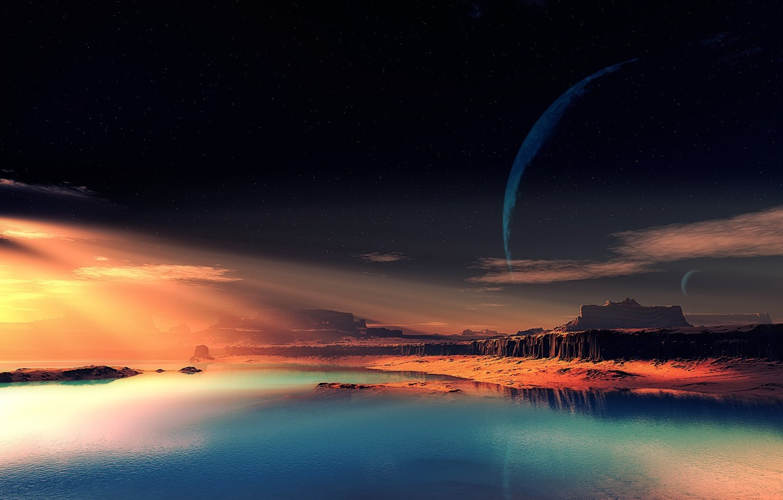 Фото обои небо, скалы, чужая планета, фантастический пейзаж