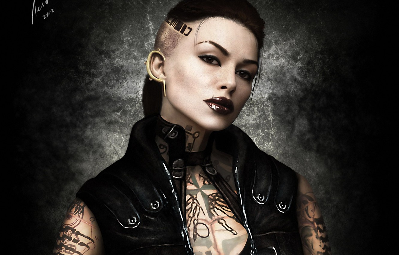 Фото обои девушка, тату, арт, татуировки, Mass Effect 3, Джек, Jack