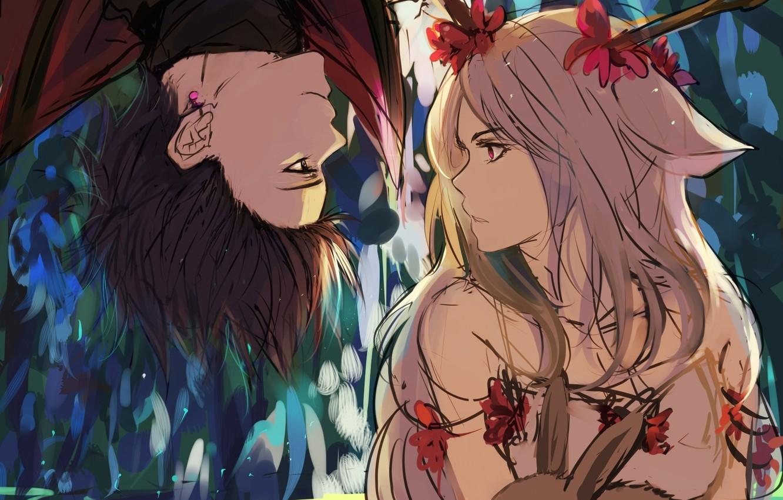 Фото обои девушка, цветы, животное, кролик, арт, парень, ушки, сережка