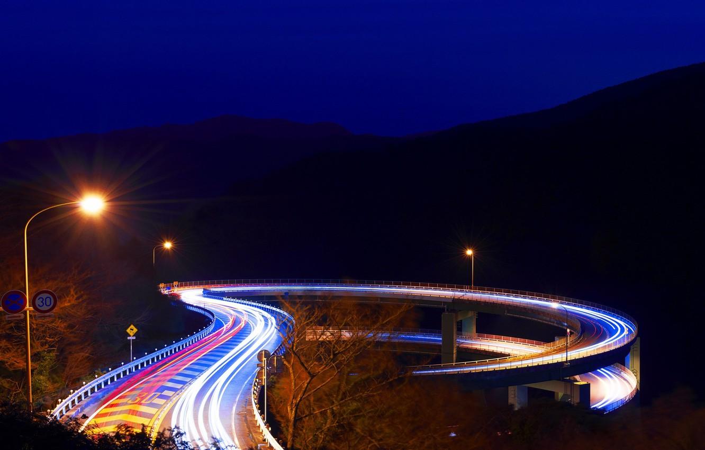 Фото обои ночь, мост, япония, фонари, Japan, Shizuoka