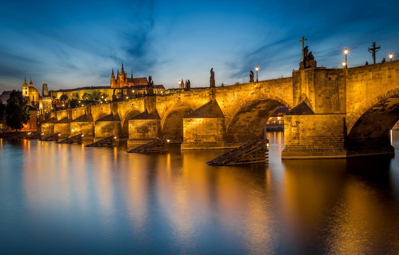 Фото обои Prague, Czech Republic, Charles Bridge, Vltava