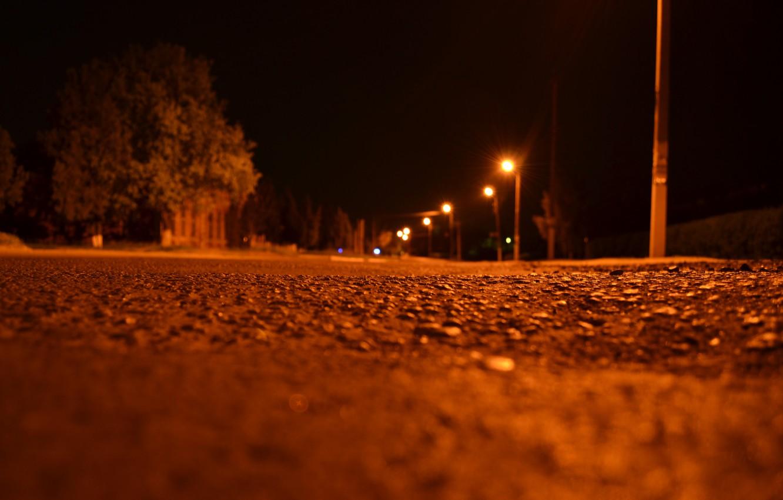 Фото обои ночь, улица, фонари