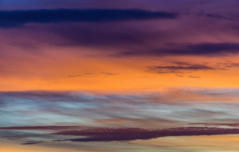 Фото обои colorful, twilight, sky, sunset, pink, clouds, orange, dusk, purple