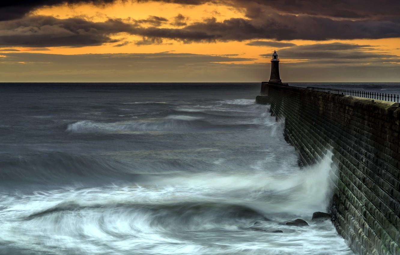 Фото обои море, закат, маяк