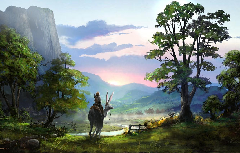 Фото обои небо, облака, деревья, пейзаж, фантастика, человек, вид, красота, существо, арт, уши