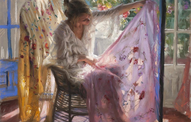 Фото обои листья, девушка, свет, комната, картина, окно, арт, ткань, платок, Vicente Romero