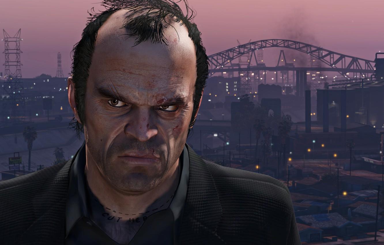 Фото обои City, Sunset, Face, Grand Theft Auto V, GTA V, Philips, Trevor, Los Santos