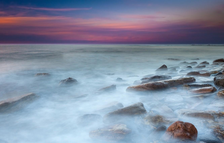 Фото обои море, вода, закат, камни, выдержка