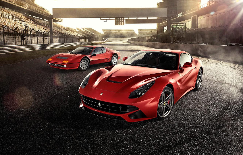 Фото обои Ferrari, Red, Front, Sun, Supercars, Berlinetta, F12, Track, Days, Beam, 512BB