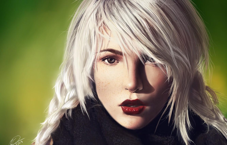 Фото обои взгляд, девушка, шарф, блондинка, веснушки, art, Nefillim