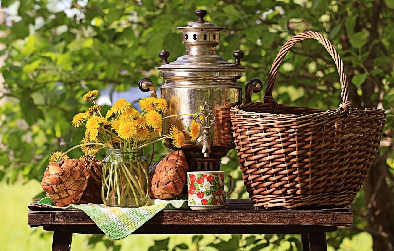 Фото обои зелень, солнце, цветы, природа, стол, корзина, букет, желтые, чашка, банка, натюрморт, одуванчики, самовар, кусты, скатерть, …