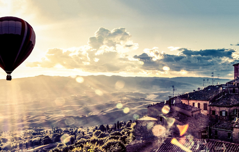 Обои Облака, Пейзаж, воздушный шар. Авиация foto 10