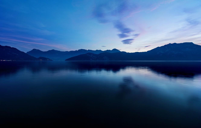 Фото обои горы, озеро, гладь, сумрак