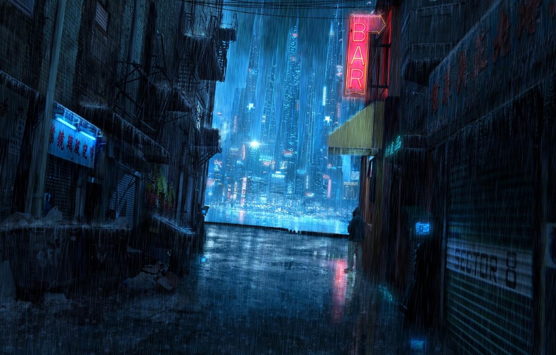 Фото обои ночь, дождь, человек, вывеска, переулок, мусорный бак