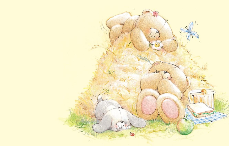 Фото обои лето, настроение, отдых, арт, мишка, сено, зайчик, детская, Forever Friends Deckchair bear