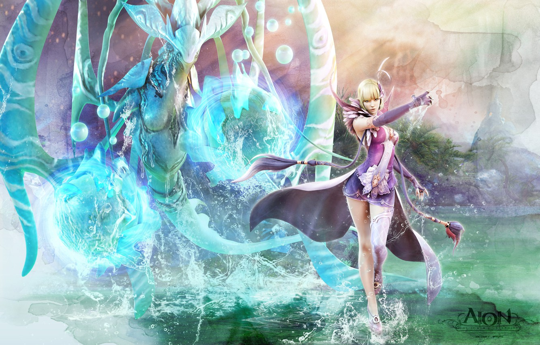 Фото обои вода, девушка, магия, существо, маг, aion