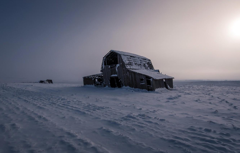 Фото обои поле, снег, пейзаж, ночь, природа, дом