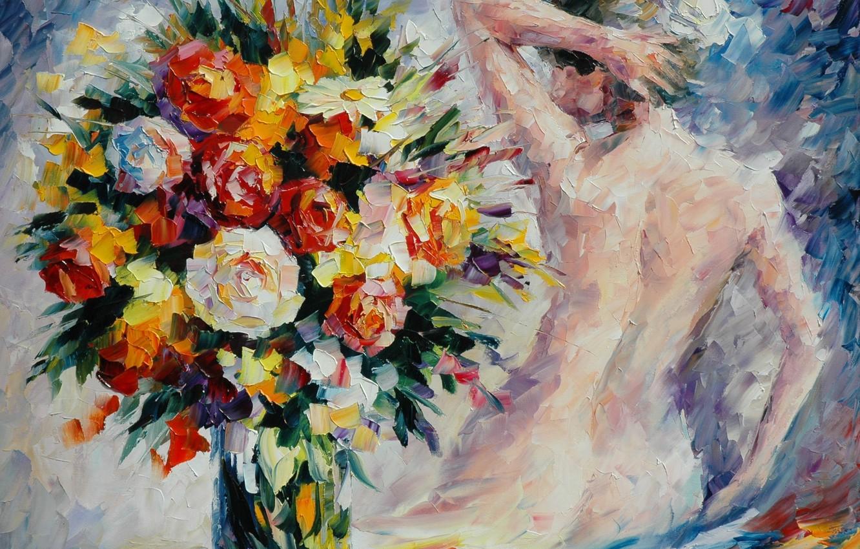 Фото обои девушка, цветы, спина, букет, руки, ваза, живопись, Leonid Afremov