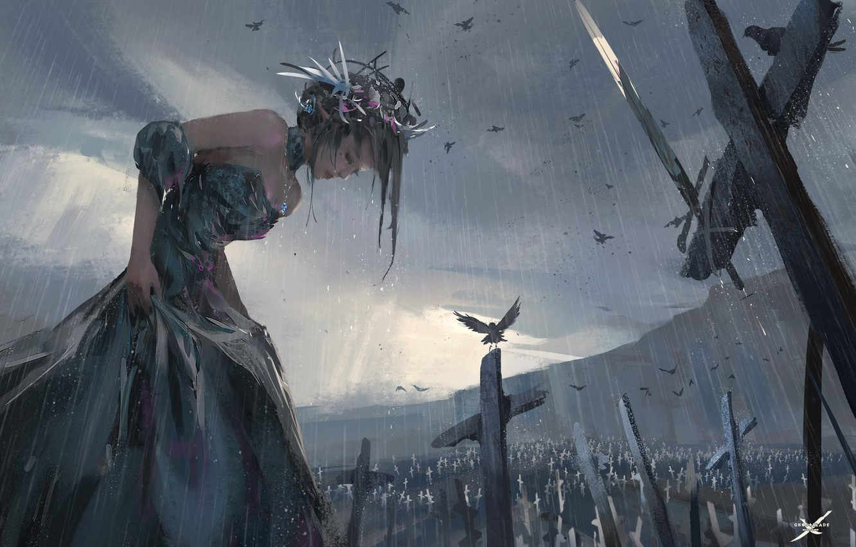 Фото обои девушка, птицы, дождь, арт, wlop, ghostblade