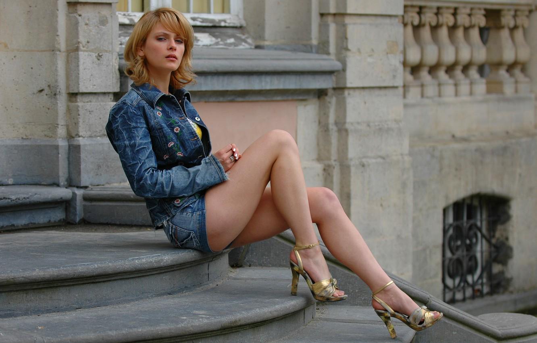 Фото обои Girl, Legs, Beautiful, Blue, Kira, Russian Model