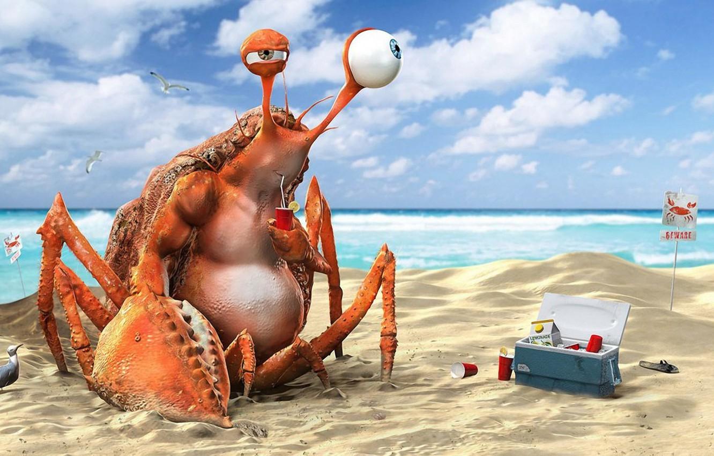 Фото обои пляж, вода, океан, краб, напиток, лимонад, funny, 3D Art