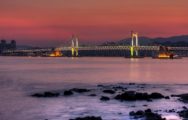 Обои опора, South korea, ночь, дома, Залив. Пейзажи foto 9