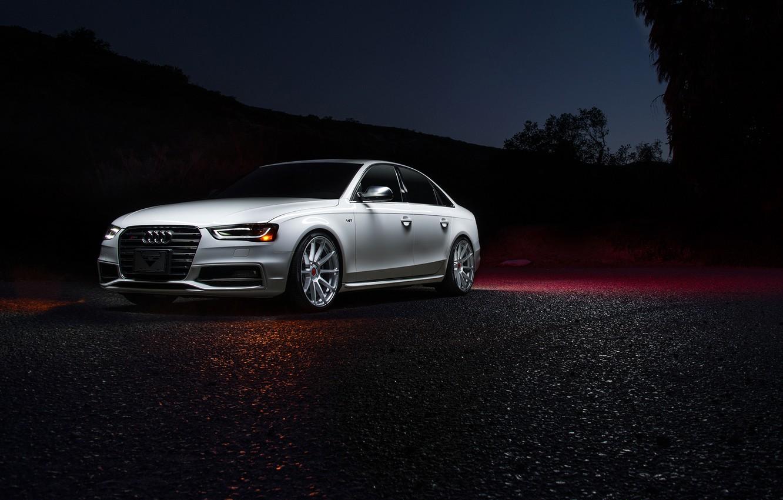 Фото обои Audi, Vorsteiner, White, Silver, Mercury, Ligth, Nigth, V-FF 102