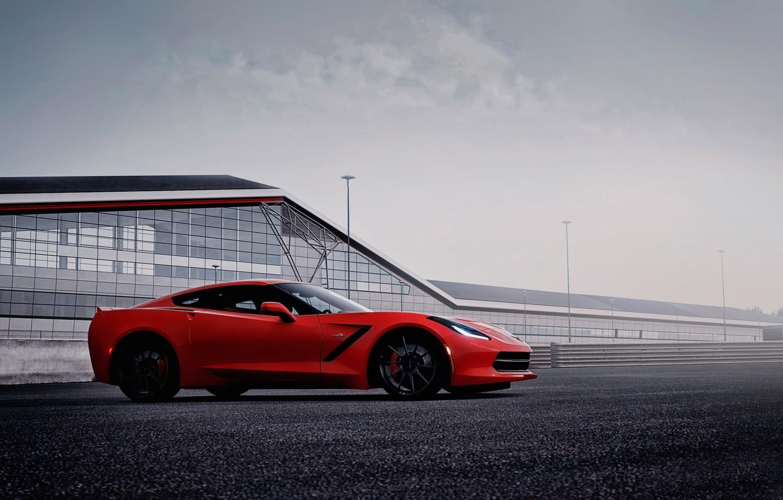 Фото обои вид, Corvette, Chevrolet, Stingray